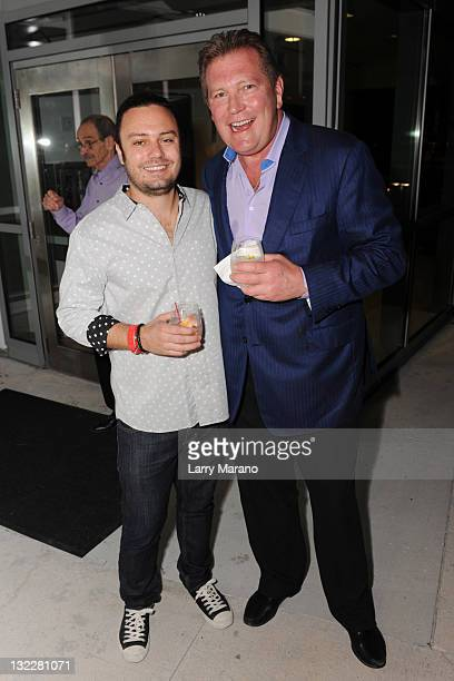 David Myers and John Unwin attend the Saturday Night after party at Food Network South Beach Wine Food Festival hosted by The Cosmopolitan Of Las...