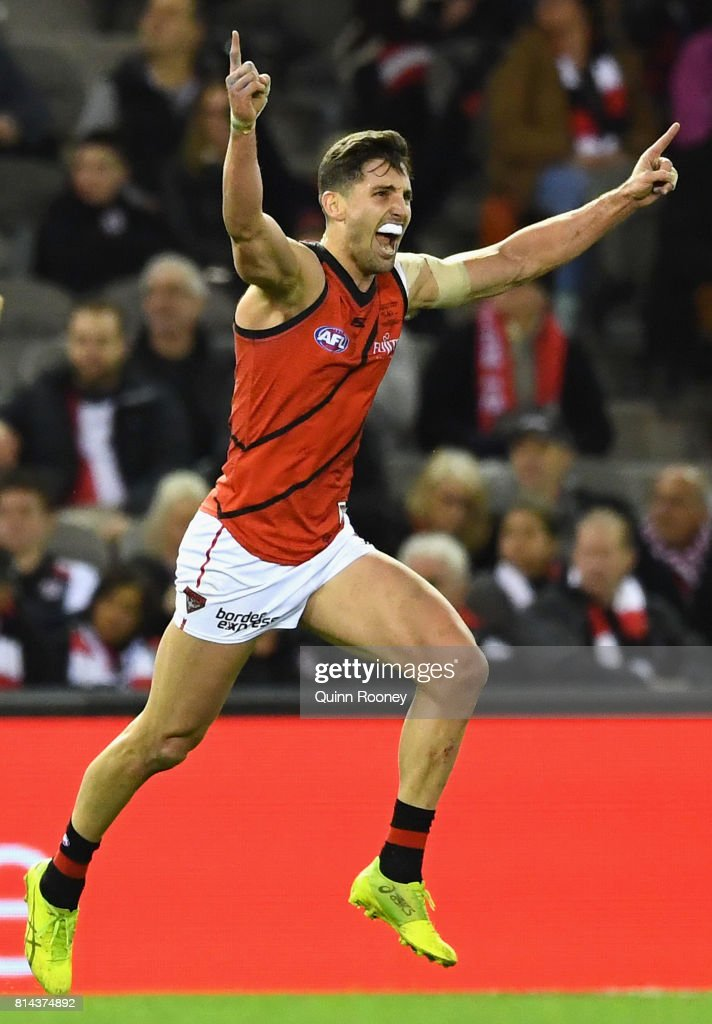 David Myers of the Bombers celebrates kicking a goal during the round 17 AFL match between the St Kilda Saints and the Essendon Bombers at Etihad Stadium on July 14, 2017 in Melbourne, Australia.