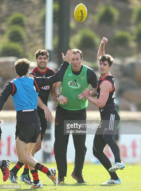 David Myers of the Bombers competes for the ball during an Essendon Bombers AFL media session at True Value Solar Centre on July 31 2014 in Melbourne...