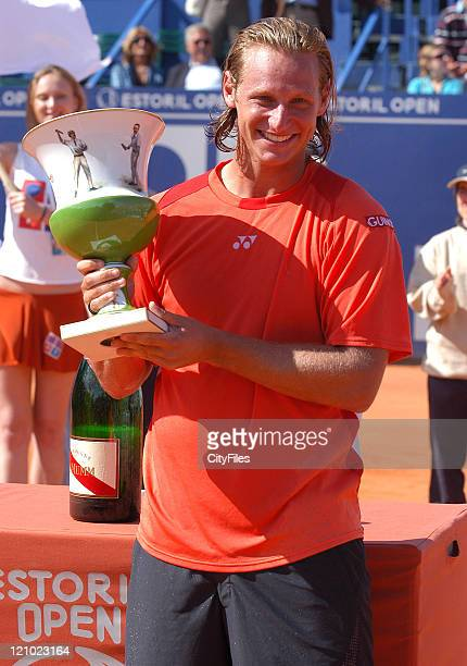 David Nalbandian after his victory over Nikolay Davydenko in the men's final match of the Estoril Open 2006 at the Estadio Nacional in Estoril,...