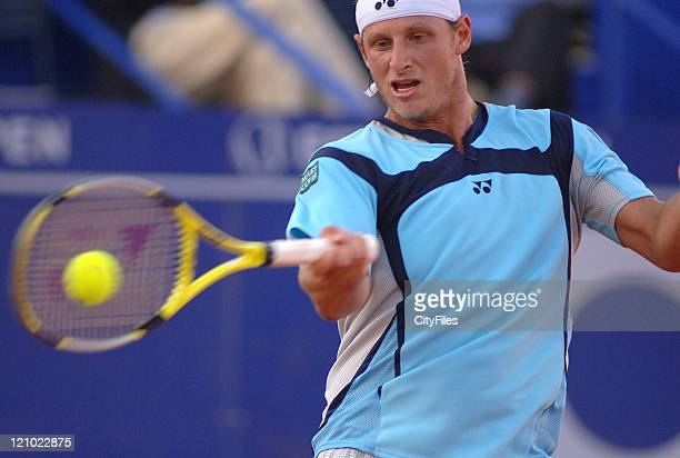 David Nalbandian in action against Jeremy Chardy during their second round match in the 2006 Estoril Open at the Estadio Nacional in Estoril,...