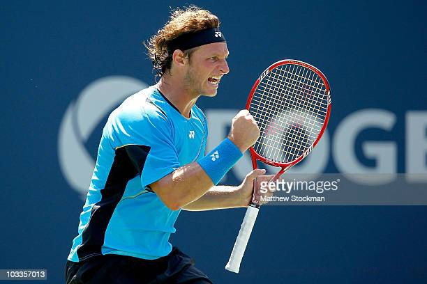David Nalbandian of Argentina celebrates a point against Robin Soderling of Sweden during the Rogers Cup at the Rexall Centre on August 12 2010 in...