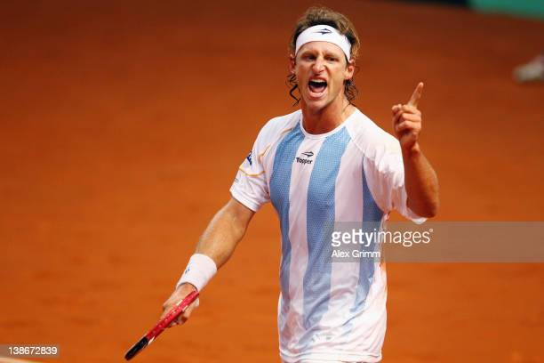 David Nalbandian of Argentina celebrates after defeating Florian Mayer of Germany on day 1 of the Davis Cup World Group first round match between...