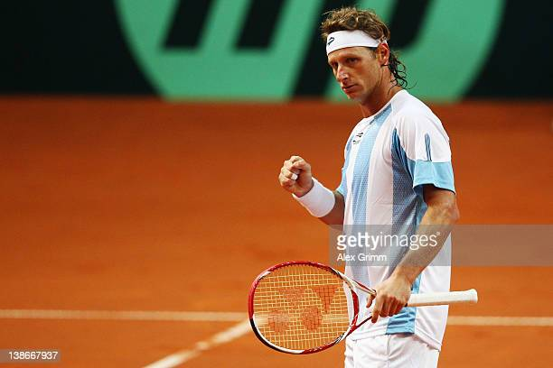 David Nalbandian of Argentina celebrates during his match against Florian Mayer of Germany on day 1 of the Davis Cup World Group first round match...