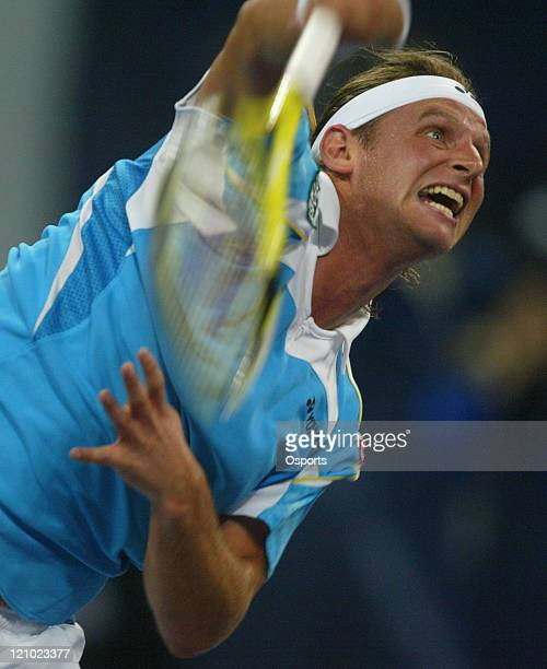 David Nalbandian of Argentina defeating Andy Roddick of the USA 62 76 in the third match of the Round Robin at the Tennis Masters Cup in Shanghai...