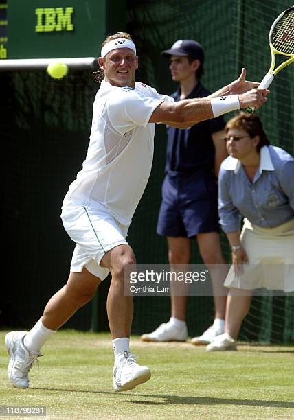 David Nalbandian of Argentina during his three set loss to Spain's Fernando Verdasco, in the third round of the 2006 Wimbledon Championships in...