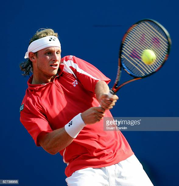 David Nalbandian of Argentina in action during his semi final match against Jarkko Nieminen of Finland during the semi finals of The BMW Open Tennis...