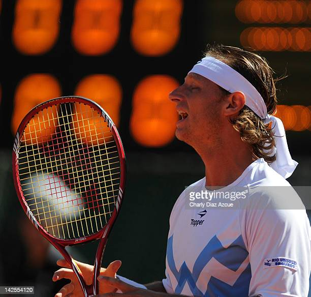 David Nalbandian of Argentina in action during the match between Argentina and Croatia for the quarterfinals of the Davis Cup at Mary Teran de Weiss...