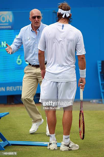 David Nalbandian of Argentina looks on as he is berated by the Line Judge after injuring his leg during his mens singles final round match against...