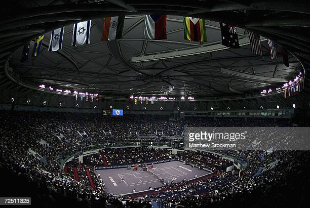 David Nalbandian of Argentina plays Roger Federer of Switzerland during the round robin of the Tennis masters Cup Shanghai November 12, 2006 at the...