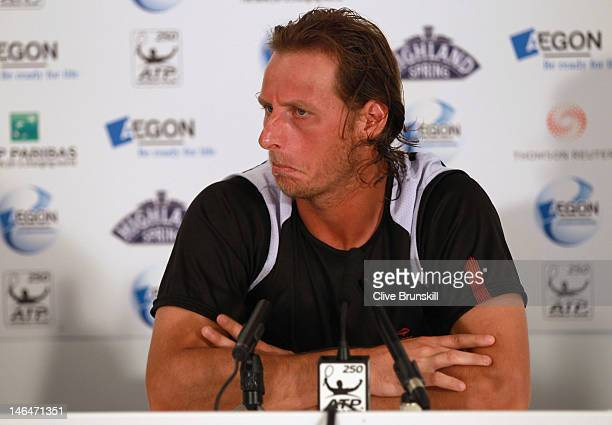 David Nalbandian of Argentina speaks at a press conference after being disqualified for unsportsmanlike conduct during his mens singles final round...