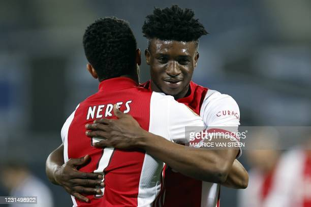 David Neres and Mohammed Kudus celebrate after scoring a goal during the KNVB Cup semi-final match between sc Heerenveen and Ajax Amsterdam at the...