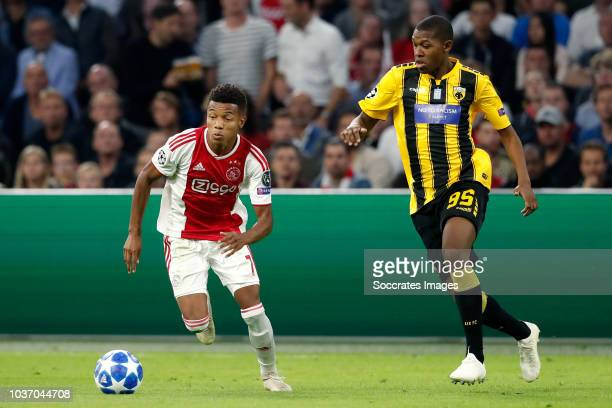 David Neres of Ajax Alef of AEK during the UEFA Champions League match between Ajax v AEK Athene at the Johan Cruijff Arena on September 19 2018 in...