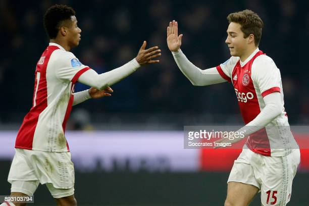 David Neres of Ajax Carel Eiting of Ajax during the Dutch Eredivisie match between Ajax v Excelsior at the Johan Cruijff Arena on December 14 2017 in...