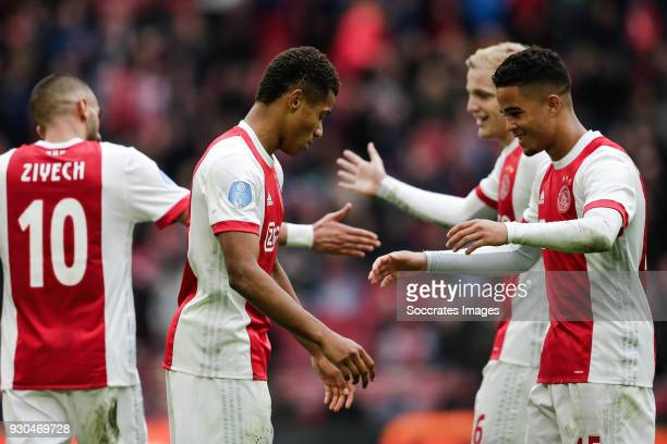 David Neres of Ajax celebrate the 41 with Justin Kluivert of Ajax during the Dutch Eredivisie match between Ajax v SC Heerenveen at the Johan Cruijff...