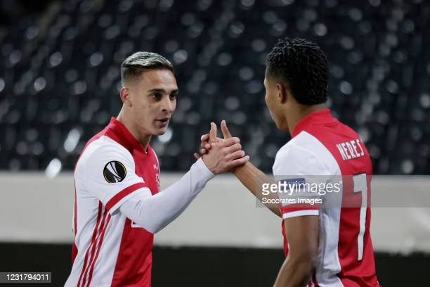 David Neres of Ajax Celebrates 0-1 with Antony of Ajax during the UEFA Europa League match between BSC Young Boys v Ajax at the Stade de Suisse on...