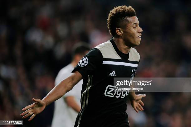 David Neres of Ajax celebrates 02 during the UEFA Champions League match between Real Madrid v Ajax at the Santiago Bernabeu on March 5 2019 in...