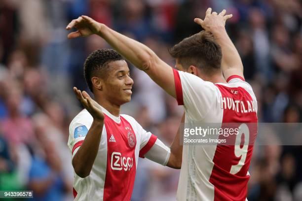 David Neres of Ajax celebrates 10 with Klaas Jan Huntelaar of Ajax during the Dutch Eredivisie match between Ajax v Heracles Almelo at the Johan...