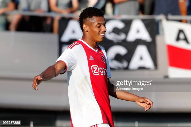 David Neres of Ajax celebrates 11 during the Club Friendly match between Ajax v Anderlecht at the Olympisch Stadion on July 13 2018 in Amsterdam...