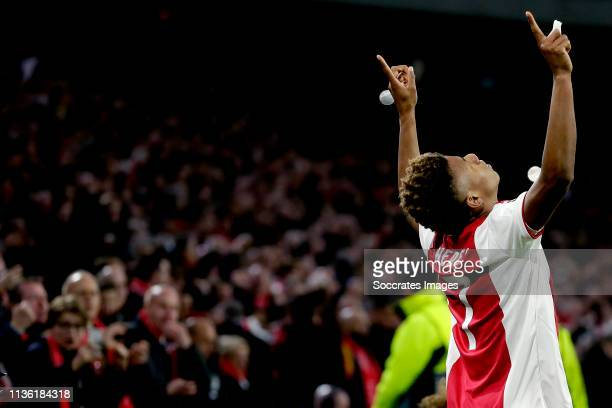 David Neres of Ajax celebrates 11 during the UEFA Champions League match between Ajax v Juventus at the Johan Cruijff Arena on April 10 2019 in...