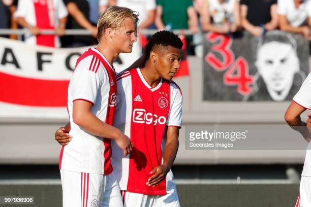 David Neres of Ajax celebrates 11 with Kasper Dolberg of Ajax during the Club Friendly match between Ajax v Anderlecht at the Olympisch Stadion on...