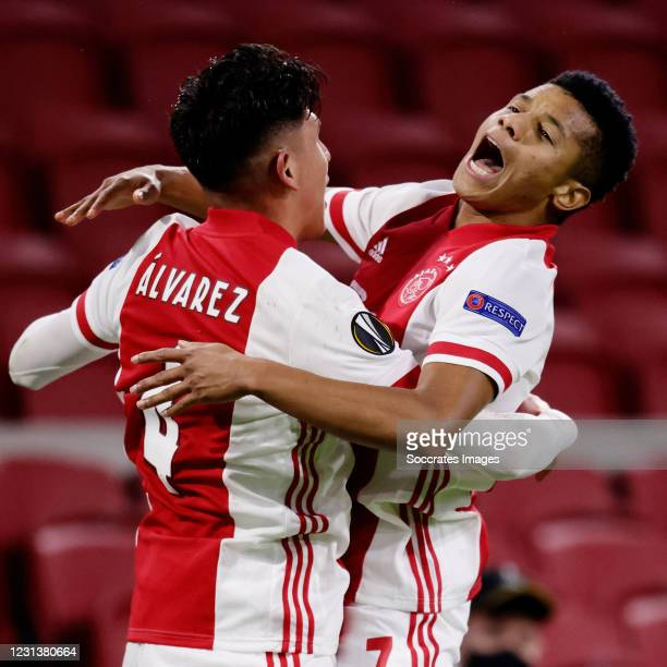 David Neres of Ajax celebrates 2-1 with Edson Alvarez of Ajax during the UEFA Europa League match between Ajax v Lille at the Johan Cruijff Arena on...