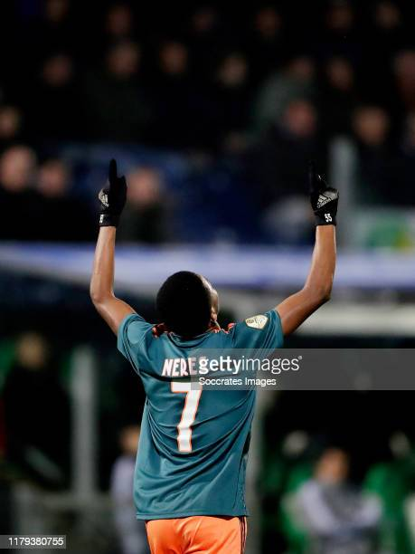 David Neres of Ajax celebrates 2-4 during the Dutch Eredivisie match between PEC Zwolle v Ajax at the MAC3PARK Stadium on November 1, 2019 in Zwolle...