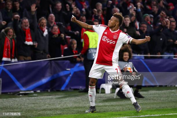 David Neres of Ajax celebrates after scoring his team's first goal during the UEFA Champions League Quarter Final first leg match between Ajax and...