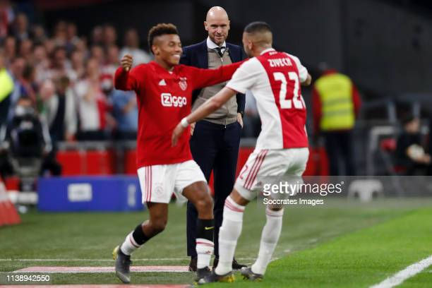 David Neres of Ajax coach Erik ten Hag of Ajax Hakim Ziyech of Ajax during the Dutch Eredivisie match between Ajax v Vitesse at the Johan Cruijff...