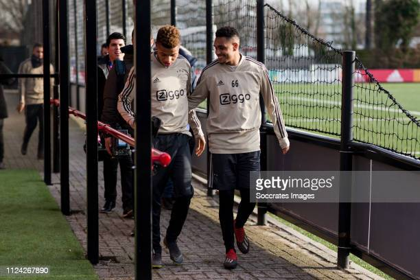 David Neres of Ajax Danilo Pereira of Ajax U23 during the Training Ajax at the Sportpark De Toekomst on February 12 2019 in Amsterdam Netherlands