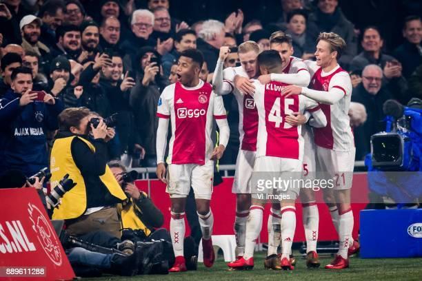 David Neres of Ajax Donny van de Beek of Ajax Justin Kluivert of Ajax Frenkie de Jong of Ajax Joel Veltman of Ajax 30 during the Dutch Eredivisie...