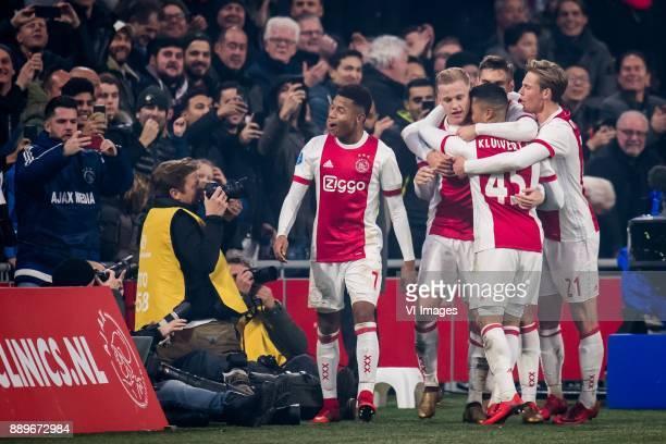 David Neres of Ajax Donny van de Beek of Ajax Justin Kluivert of Ajax Joel Veltman of Ajax Frenkie de Jong of Ajax during the Dutch Eredivisie match...
