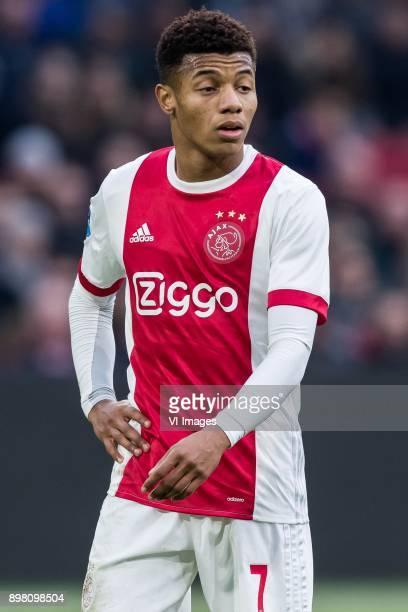 David Neres of Ajax during the Dutch Eredivisie match between Ajax Amsterdam and Willem II Tilburg at the Amsterdam Arena on December 24 2017 in...