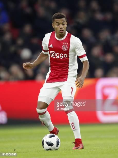 David Neres of Ajax during the Dutch Eredivisie match between Ajax Amsterdam and NAC Breda at the Amsterdam Arena on February 04 2018 in Amsterdam...