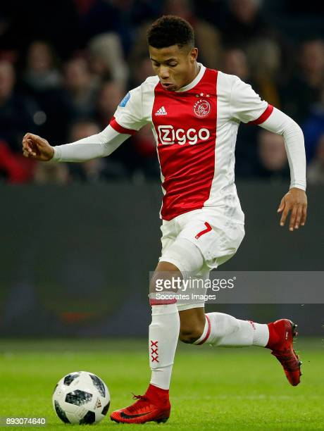 David Neres of Ajax during the Dutch Eredivisie match between Ajax v Excelsior at the Johan Cruijff Arena on December 14 2017 in Amsterdam Netherlands