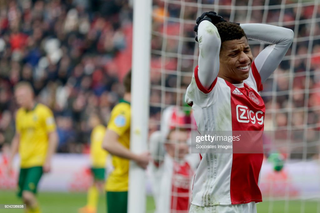 David Neres of Ajax during the Dutch Eredivisie match between Ajax v ADO Den Haag at the Johan Cruijff Arena on February 25, 2018 in Amsterdam Netherlands