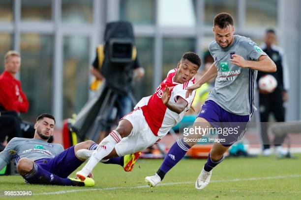 David Neres of Ajax Elias Cobbaut of Anderlecht during the Club Friendly match between Ajax v Anderlecht at the Olympisch Stadion on July 13 2018 in...