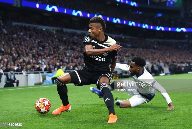 David Neres of Ajax evades Danny Rose of Tottenham Hotspur during the UEFA Champions League Semi Final first leg match between Tottenham Hotspur and...