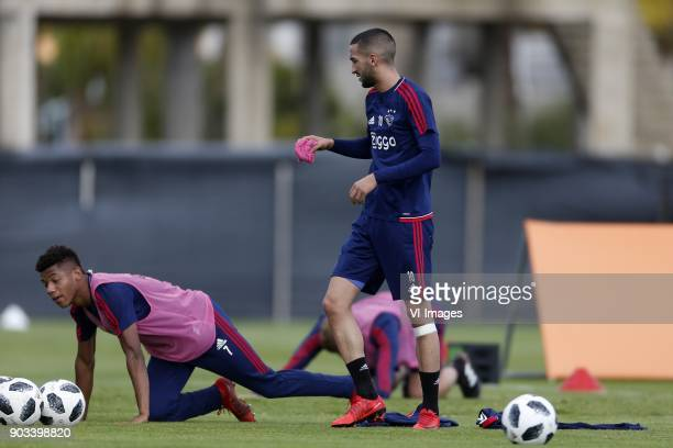 David Neres of Ajax Hakim Ziyech of Ajax during a training session of Ajax Amsterdam at the Cascada Resort on January 10 2018 in Lagos Portugal