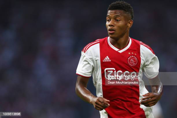 David Neres of Ajax in action during the first leg UEFA Champions League Qualifier match between Ajax and SK Sturm Graz at Amsterdam Arena on July 25...
