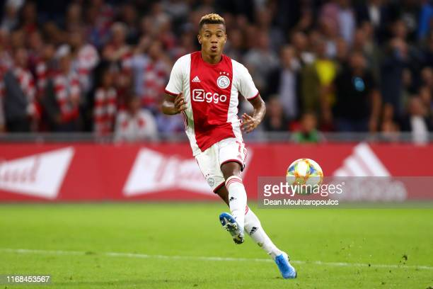 David Neres of Ajax in action during the UEFA Champions League 3rd Qualifying match between Ajax and PAOK Thessaloniki at Johan Cruyff Arena on...