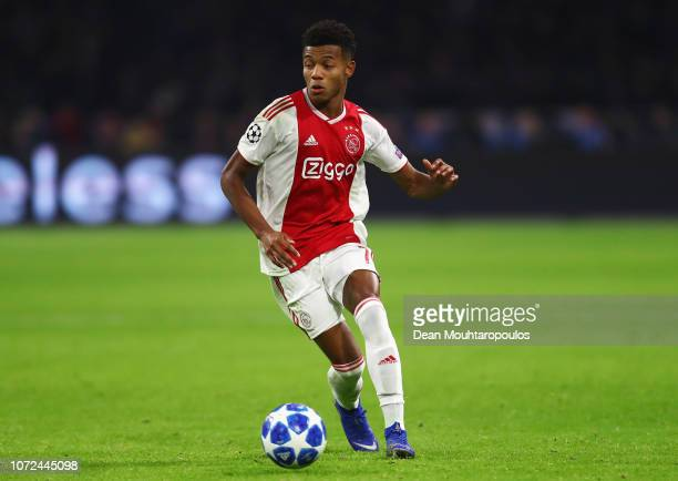 David Neres of Ajax in action during the UEFA Champions League Group E match between Ajax and FC Bayern Munich at Johan Cruyff Arena on December 12...