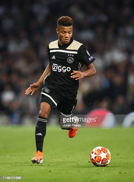 David Neres of Ajax in action during the UEFA Champions League Semi Final first leg match between Tottenham Hotspur and Ajax at at the Tottenham...
