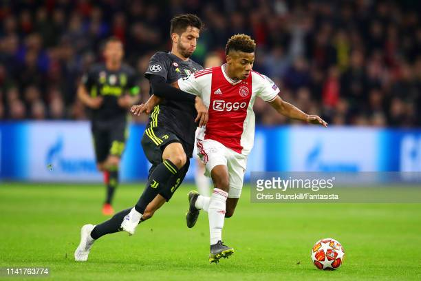 David Neres of Ajax in action with Rodrigo Bentancur of Juventus during the UEFA Champions League Quarter Final first leg match between Ajax and...