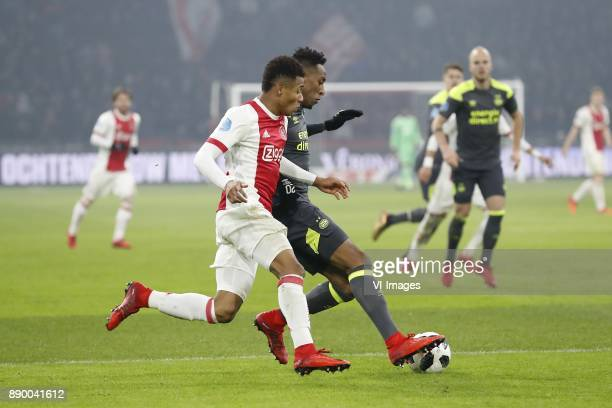 David Neres of Ajax Joshua Brenet of PSV during the Dutch Eredivisie match between Ajax Amsterdam and PSV Eindhoven at the Amsterdam Arena on...