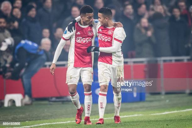 10 David Neres of Ajax Justin Kluivert of Ajax during the Dutch Eredivisie match between Ajax Amsterdam and PSV Eindhoven at the Amsterdam Arena on...