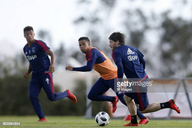David Neres of Ajax Justin Kluivert of Ajax Lasse Schone of Ajax during a training session of Ajax Amsterdam at the Cascada Resort on January 10 2018...