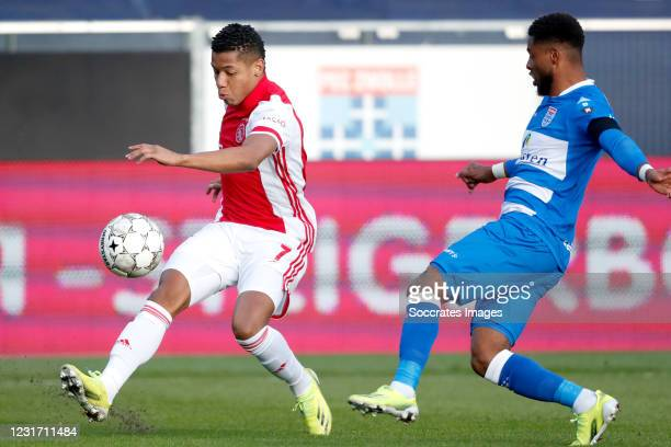 David Neres of Ajax, Kenneth Paal of PEC Zwolle during the Dutch Eredivisie match between PEC Zwolle v Ajax at the MAC3PARK Stadium on March 14, 2021...