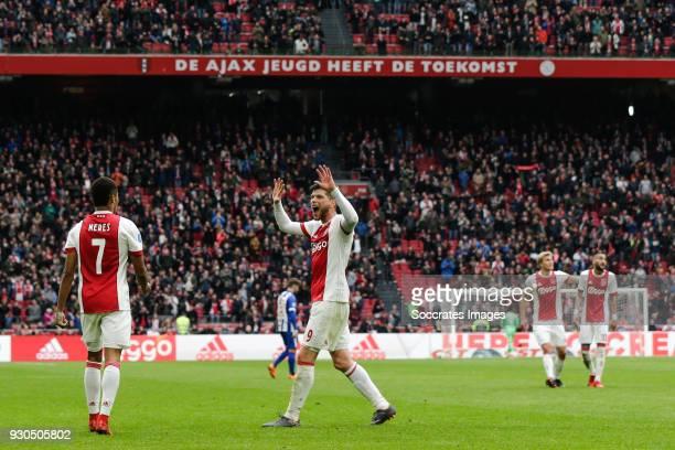 David Neres of Ajax Klaas Jan Huntelaar of Ajax celebrate the 41 during the Dutch Eredivisie match between Ajax v SC Heerenveen at the Johan Cruijff...