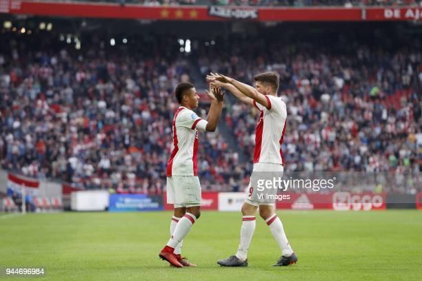 David Neres of Ajax Klaas Jan Huntelaar of Ajax during the Dutch Eredivisie match between Ajax Amsterdam and Heracles Almelo at the Amsterdam Arena...
